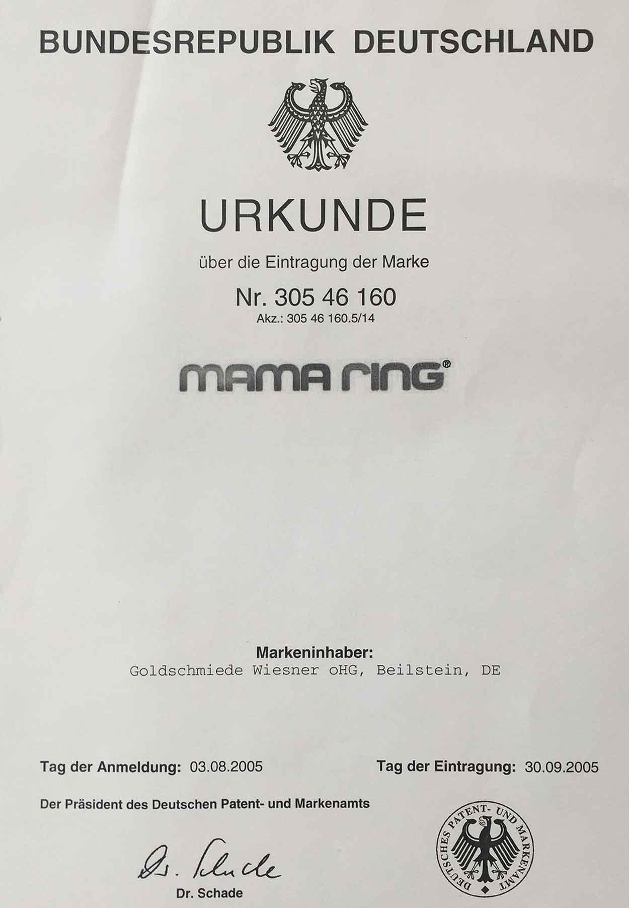 Mamaring Markenurkunde Deutschland