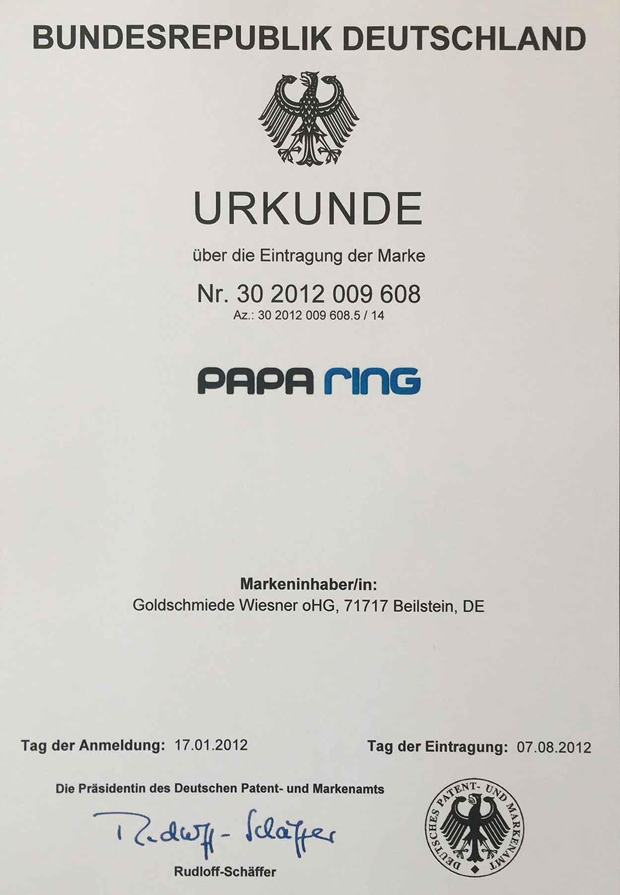 Paparing Markenurkunde Deutschland