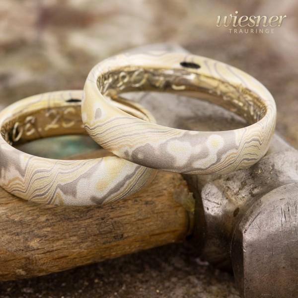 Trauringe Abarco | Mokume Gane | Gelbgold Rotgold Palladium Silber