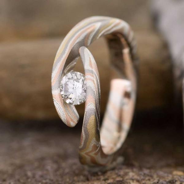 Verlobungsring mit Diamant 0,25 Karat | Gelbgold | Rotgold | Palladium | Silber