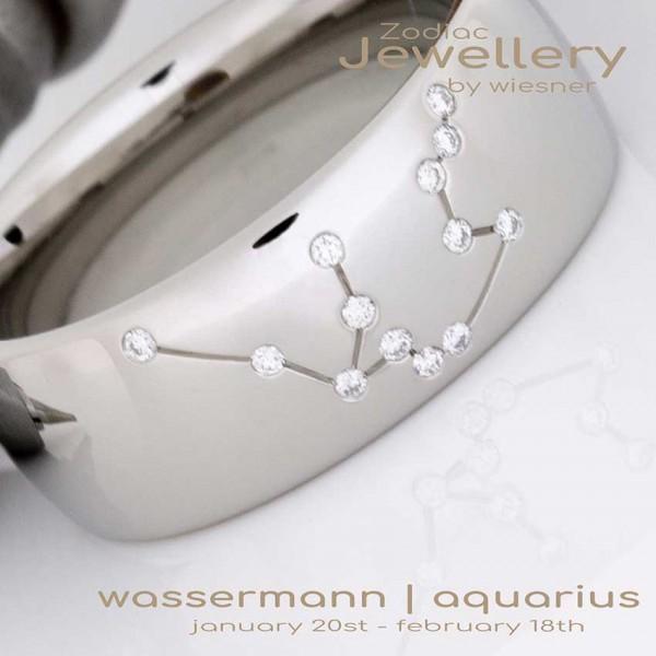 Sternzeichen Wassermann Ring mit Diamanten in Silber oder Platin