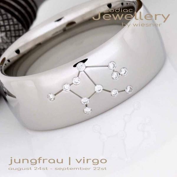 Sternzeichen Ring Jungfrau in Platin mit kleinen Brillanten
