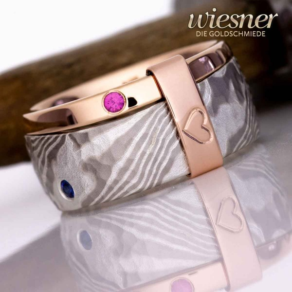 Family Ring with Birthstones in Gold and Mokume Gane