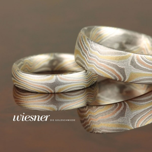 Mokume Gane Trauringe Limba in Variation