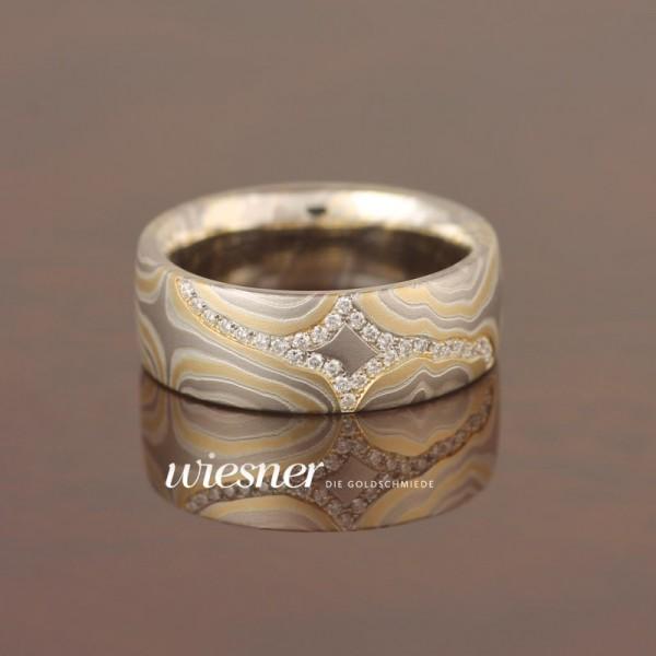 engagement ring Limba | Diamond | Flawless | Mokume Gane