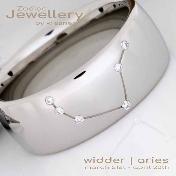 Ring Widder mit Diamanten | Sternzeichen in Platin oder Silber