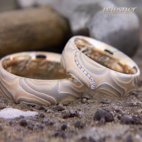 Mokume Gane Trauringe Jaboty in Gelbgold Rotgold, Palladium und Silber mit lupenreinen Diamanten