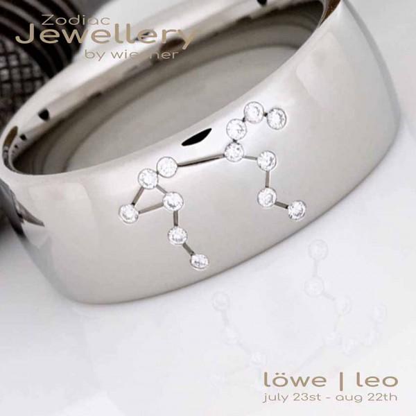 Sternzeichen Ring Löwe in Platin mit kleinen Brillanten