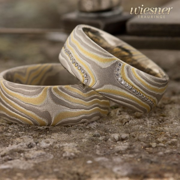 Trauringe Limba | Mokume Gane | Gelbgold Palladium Silber