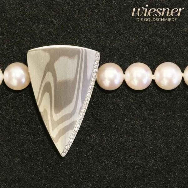 Mokume Gane Anhänger Schließe Kora Bicolor mit Brillanten für Perlkette